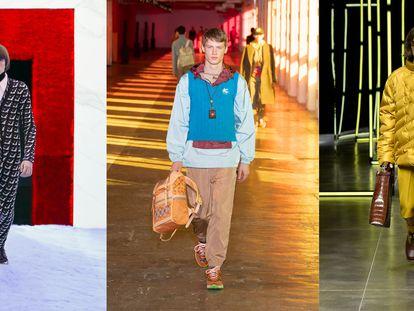 Modelos pertenecientes a las colecciones masculinas otoño/invierno 2021 de Prada, Etro y Fendi