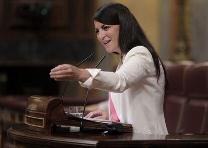La diputada de Vox Macarena Olona, este miércoles en el Congreso.