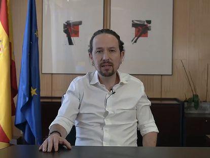 Captura de vídeo publicado hoy lunes en Twitter, del vicepresidente segundo del Gobierno español y líder del partido de izquierda Podemos, Pablo Iglesias, que anunció este lunes que deja el Gobierno para presentarse a las elecciones de la Comunidad de Madrid del próximo 4 de mayo.
