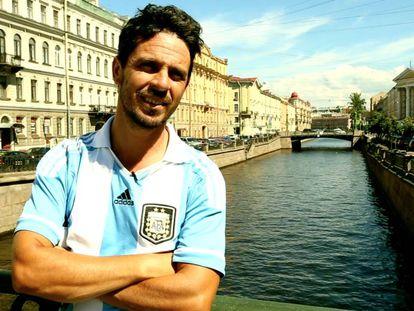 Santiago Reale cumplió su promesa de viajar a Rusia a ver a la Selección.