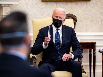 El presidente Joe Biden, este martes en el Despacho Oval.