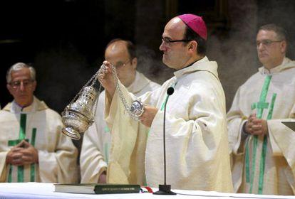 El obispo de San Sebastián, Jose Ignacio Munilla, oficia misa en la Basílica de Loyola de Azpeitia (Guipúzcoa), en honor a San Ignacio.