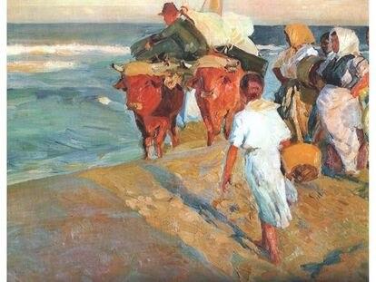 """""""Sacando la barca, Playa de Valencia"""", de Joaquín Sorolla, uno de los cuadros con permiso temporal para su exhibición en el extranjero."""