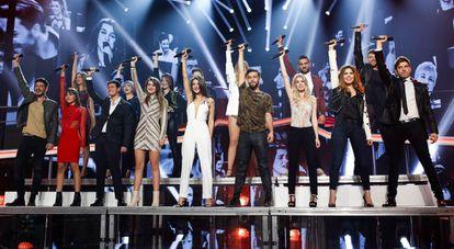 Los 16 concursantes de 'OT 2017' en una última gala llamada 'La Fiesta', celebrada el 13 de febrero de 2018.