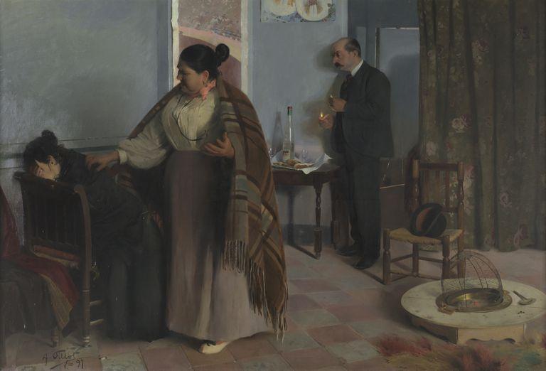 'La bestia humana' (1897), de Antonio Fillol, pintura que denuncia cómo una muchacha es obligada a prostituirse.