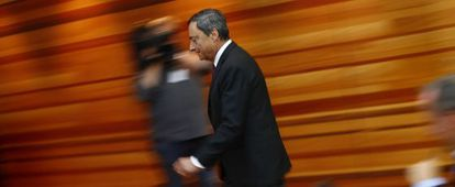 El presidente del BCE, Mario Draghi, tras la reunión del Consejo de la institución.