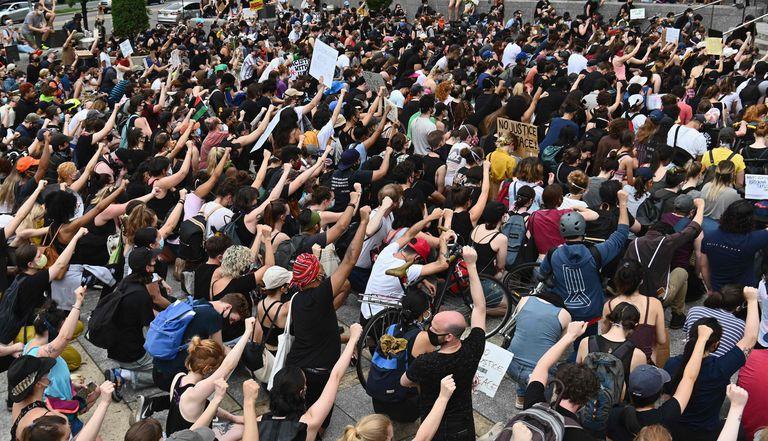 Protesta por la muerte de George Floyd, el viernes en Nueva York.