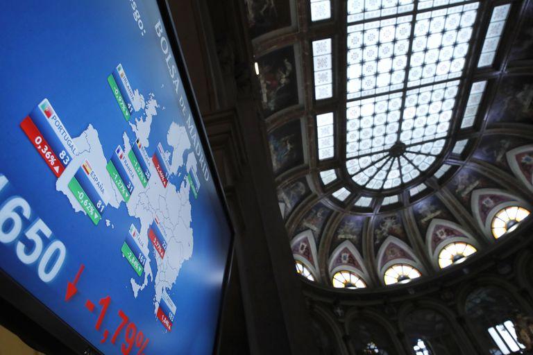 Panel de la Bolsa de Madrid a principios de marzo.