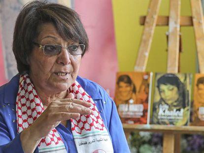 Leila Khaled, dirigente del Frente Popular para la Liberación de Palestina, a Barcelona.