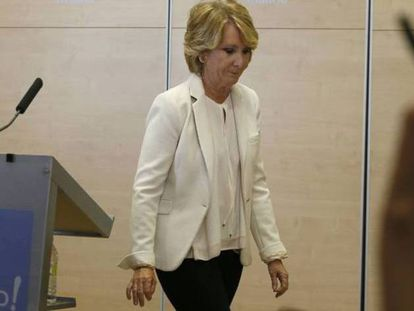 Esperanza Aguirre el día que anunció su dimisión.