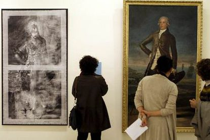 A la derecha, <i>Retrato de Jovellanos,</i> de Goya; a la izquierda, radiografía que muestra a la mujer joven que estaba debajo.
