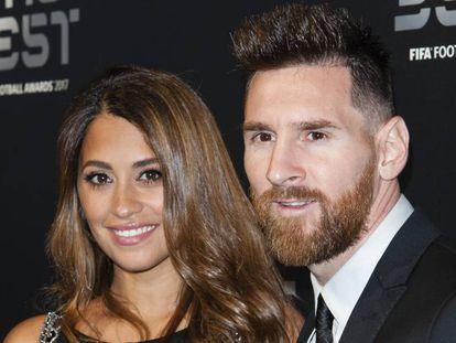 El futbolista Leo Messi y su esposa Antonela Roccuzzo en los premios The Best FIFA,  en Londres.