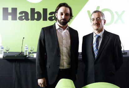 José Antonio Ortega Lara, a la derecha, y Santiago Abascal.