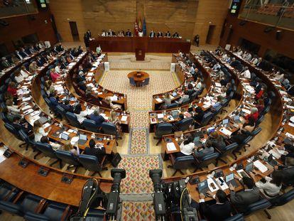 La Asamblea de Madrid durante el pleno del 8 de julio.
