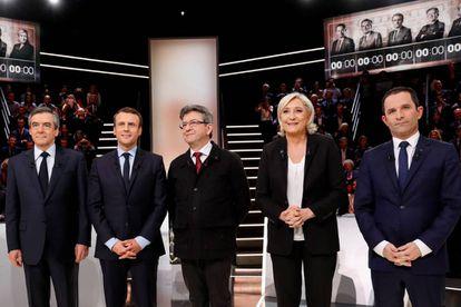 Los candidatos presidenciales: Francois Fillon, Emmanuel Macron, Jean-Luc Melenchon, Marine Le Pen y Benoit Hamon.