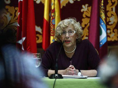 La alcaldesa de Madrid, Manuela Carmena, en el Ayuntamiento de la capital.