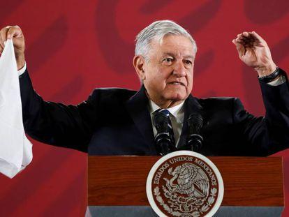 López Obrador durante su rueda de prensa matutina.