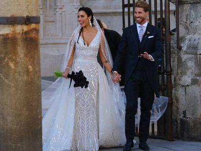 Pilar Rubio y Sergio Ramos tras contraer matrimonio.