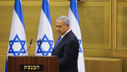 Israeli Prime Minister Benjamin Netanyahu in the Knesset (Parliament) on Monday.