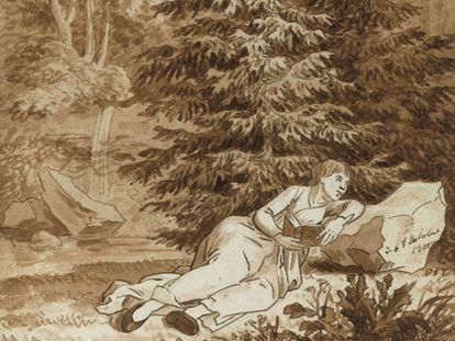 Los apuntes de Friedrich son un ejemplo de ahorra. En una misma hoja podía tener apuntes de distintos momentos, como este en el que coincide el estudio de un caballo, de un vaca y el de una mujer tumbada leyendo en un bosque (Del cuaderno de dibujos de formato pequeño de Mannheim de 1800-1802 Kupferstich-Kabinett, Staatliche Kunstsammlugen)