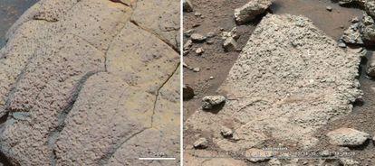Imágenes de distintas rocas marcianas estudiadas por la misión 'Curiosity'