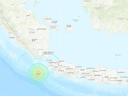 Lugar donde se encuentra el epicentro del terremoto en Indonesia. En vídeo, imágenes de Indonesia, esta tarde.