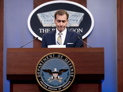 El portavoz del Pentágono, John Kirby, este jueves durante una rueda de prensa.