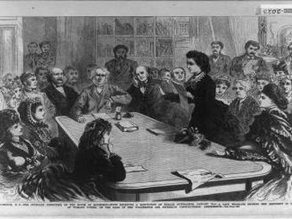 Victoria Woodhull argumentando en favor del voto femenino, en 1871.
