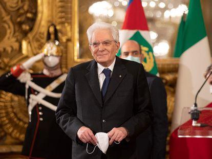 El presidente italiano, Sergio Mattarella, en el Palacio del Quirinal, el 29 de enero de 2021.