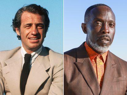 Jean-Paul Belmondo, en Cannes en 1974; y Michael K. Williams, en marzo de 2021 en los premios Critics Choice.