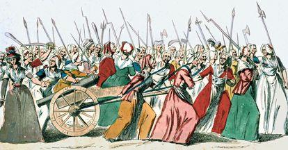Marcha de mujeres en Versalles.