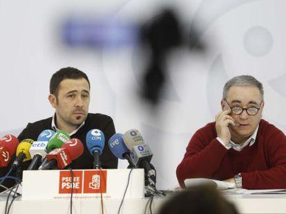 Itxaso (izquierda) y Arrizabalaga, en la rueda de prensa.