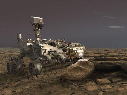 Ilustración del robot 'Perseverance' sobre la superficie de Marte.