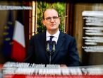 This image of a television screen shows French Prime Minister Jean Castex as he speaks on the coronavirus Covid-19 situation during a press conference at The Hotel Matignon in Paris on September 11, 2020. (Photo by Thomas COEX / AFP)