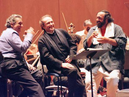 Plácido Domingo, a la izquierda, con José Carreras y Luciano Pavarotti, los Tres Tenores.