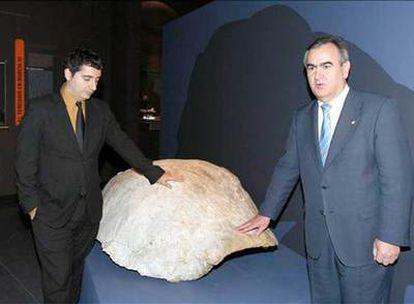 El delegado del Gobierno en Murcia, Rafael González (derecha), y el consejero de Cultura, Pedro Alberto Cruz, durante la presentación de los restos fósiles de tortugas gigantes