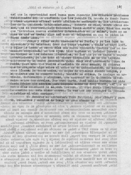 Reverso de la carta de Benedetti a  Vargas Llosa.