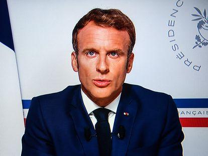 El presidente francés, Emmanuel Macron, durante su discurso sobre Afganistán