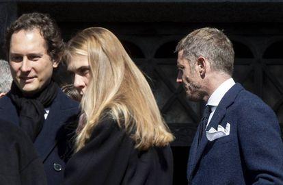John Elkann (izquierda) y su hermano Lapo en el funeral de Marella Agnelli.