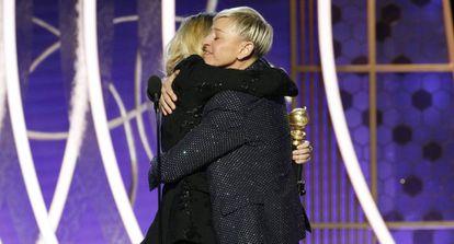Ellen Degeneres al recibir su Globo de Oro.