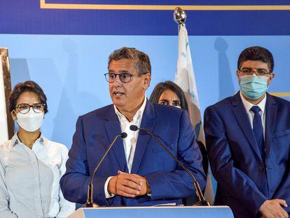 Aziz Ajanuch durante una rueda de prensa en la que celebró su victoria en las elecciones en Marruecos.