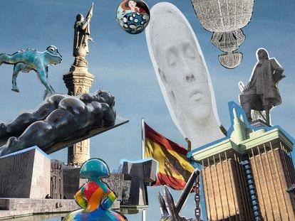 """Como quien ha tirado los dados, en la Plaza de Colón ha caído la cabeza de 'Julia', de Jaume Plensa, la escultura de Cristóbal Colón, una pieza de Botero, una estatua de Blas de Lezo, un ancla en honor al cartógrafo Jorge Juan, una rana de tres metros, dos meninas de fibra de vidrio y otra gigante luminosa colocada por Navidad, una bandera de 294 metros cuadrados, dos limones, el conjunto monumental de hormigón dedicado al """"descubrimiento de América"""", las torres de Lamela, el Axis de Foster, el macroedificio neoclásico de la Biblioteca Nacional y el Teatro Fernando Fernán Gómez."""