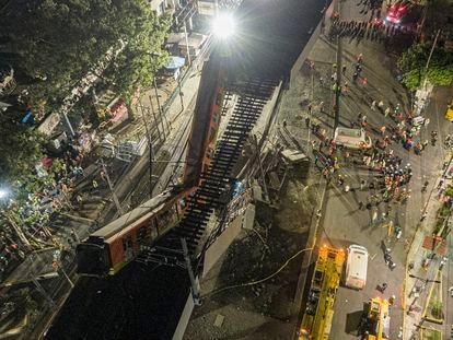 Desplome del tramo de la línea 12 del metro de la Ciudad de México, en mayo de 2021.