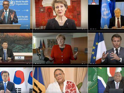 Líderes mundiales durante una teleconferencia sobre la covid-19 organizada por la OMS. en mayo de 2020.