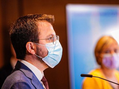 El vicepresidente de la Generalitat en funciones, Pere Aragonès, en la rueda de prensa de presentación de la campaña masiva de vacunación.