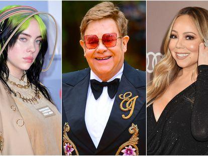 Billie Eilish, Elton John y Mariah Carey.
