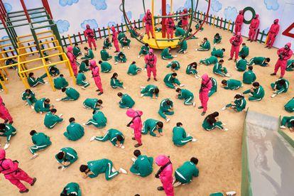 Una imagen de 'El juego del calamar' durante una de sus pruebas.
