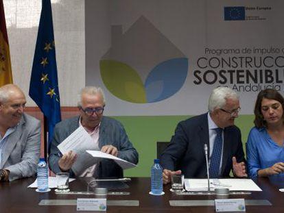 Carbonero, Sánchez Maldonado, Jiménez Barrios y Cortés, en la reunión.