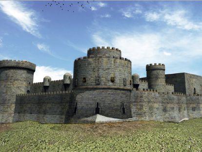 Recreación del desaparecido castillo de Aguilar y, en primer plano, la torre de la Mazmorra.
