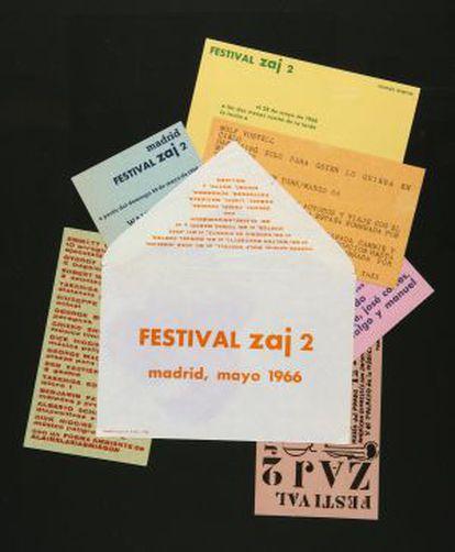 Cartones, sobres y cartas Zaj.